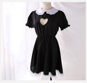 Image 5 - バストオープンメイド衣装セクシーなコスプレキティ衣装綿エプロンレース誘惑ミニドレス女性のためのアニメ黒、白ロリータ