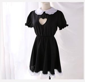 Image 5 - Fantasia de dama aberta sexy, cosplay kitty, roupa de algodão, avental de renda, mini vestido feminino anime branco e preto