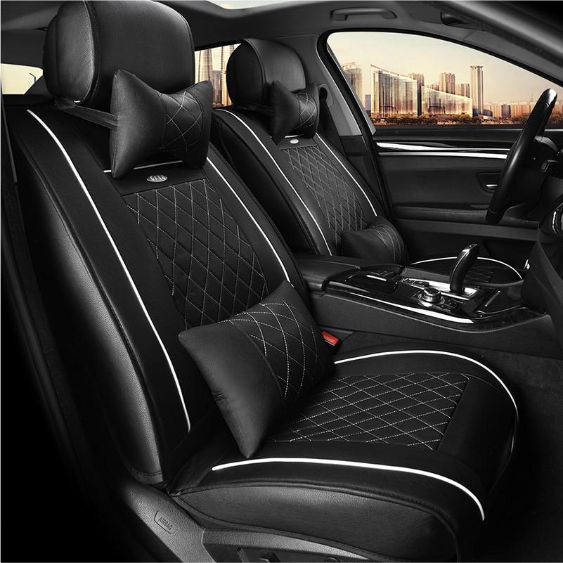 WLMWL Universele Lederen Auto seat cover voor Peugeot 206 307 407 207 2008 3008 508 208 308 406 301 alle modellen auto accessorie