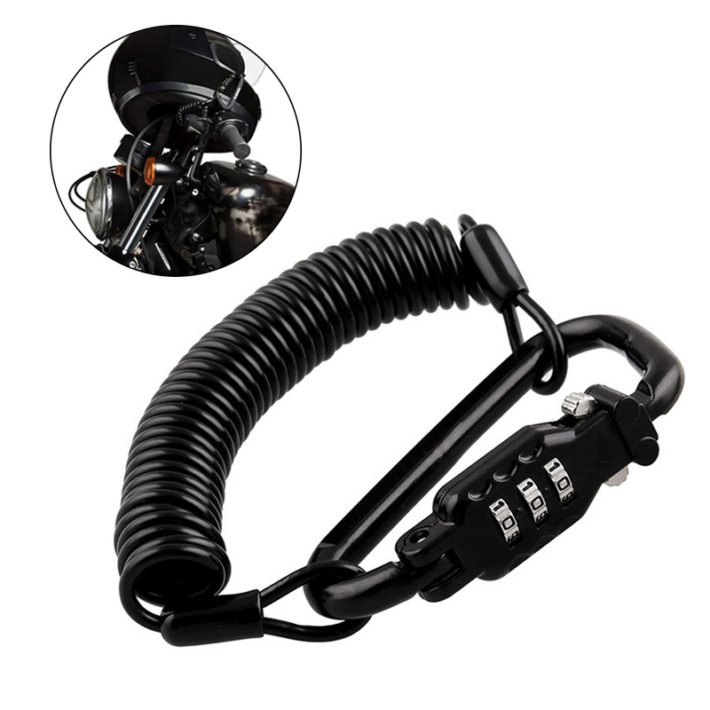 Motorcycle Helmet Lock Tough Combination PIN Lock Carabiner Fix For Motorcycle Bicycle Electric Scooter Car-Styling