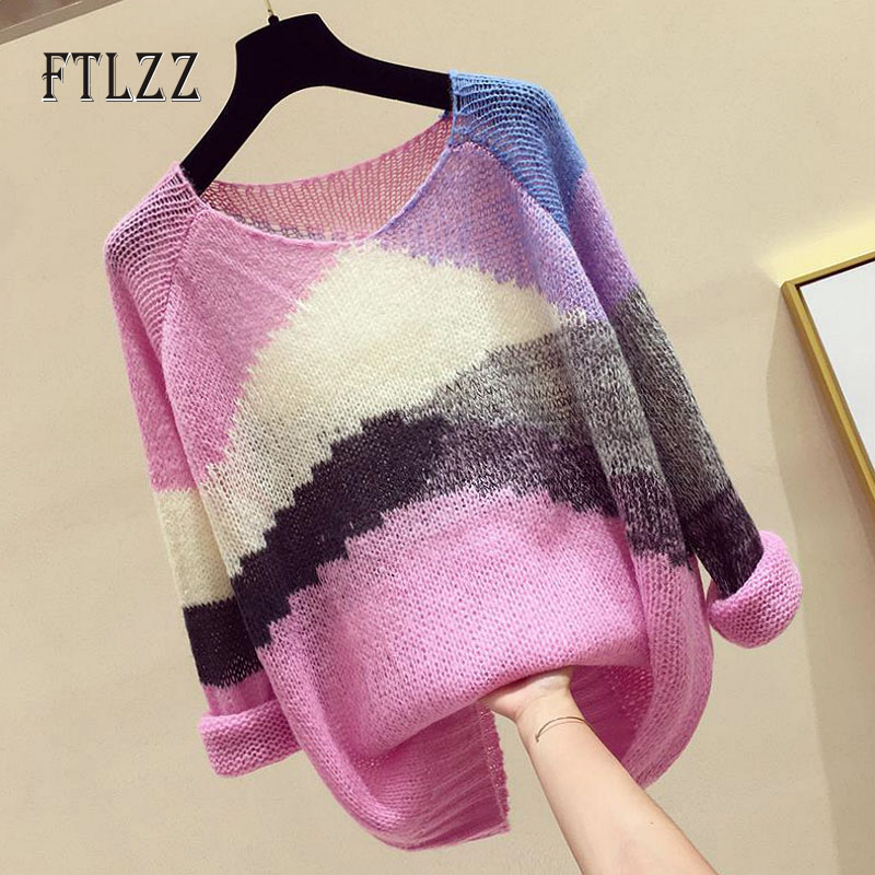 Fashion Hollowing Out Knitted Sweater Women Casual Loose V Neck Long Sleeved Gradation Pullover Top Ladies Spring Autumn Sweater