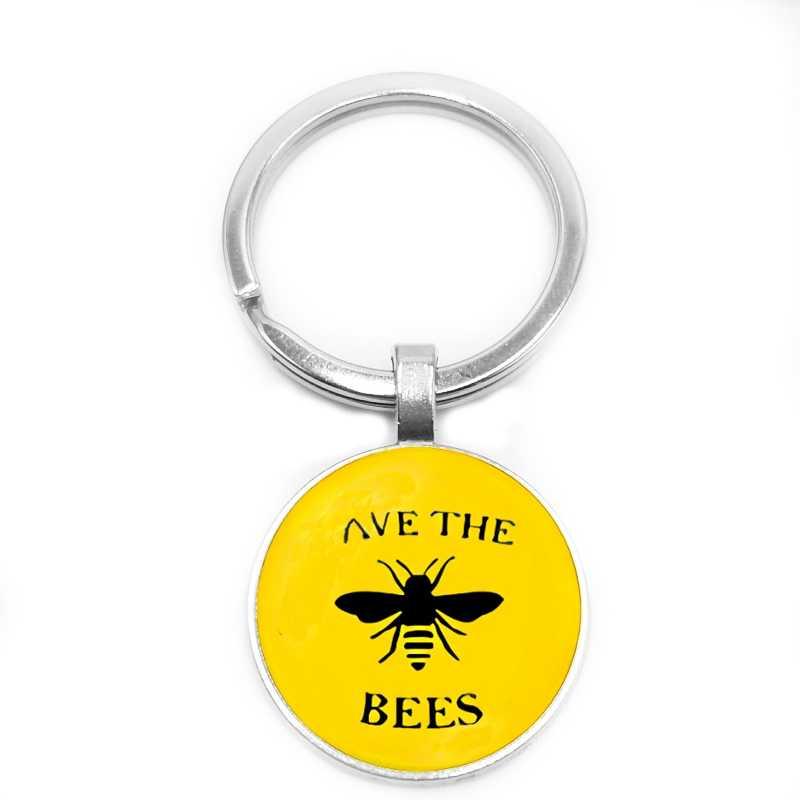 2019 جديد لطيف النحل جمع العسل الزجاج جولة المفاتيح الأزياء سيارة مفتاح قلادة عصابة المجوهرات هدية
