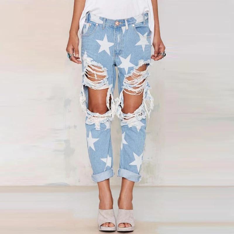 Pantalones Vaqueros Rasgados Para Mujer Pantalones Rotos Ropa De Calle Pantalones Vaqueros Para Mujer Con Estampado De Estrella De Cinco Puntas De Talla Grande Pantalones Vaqueros Aliexpress