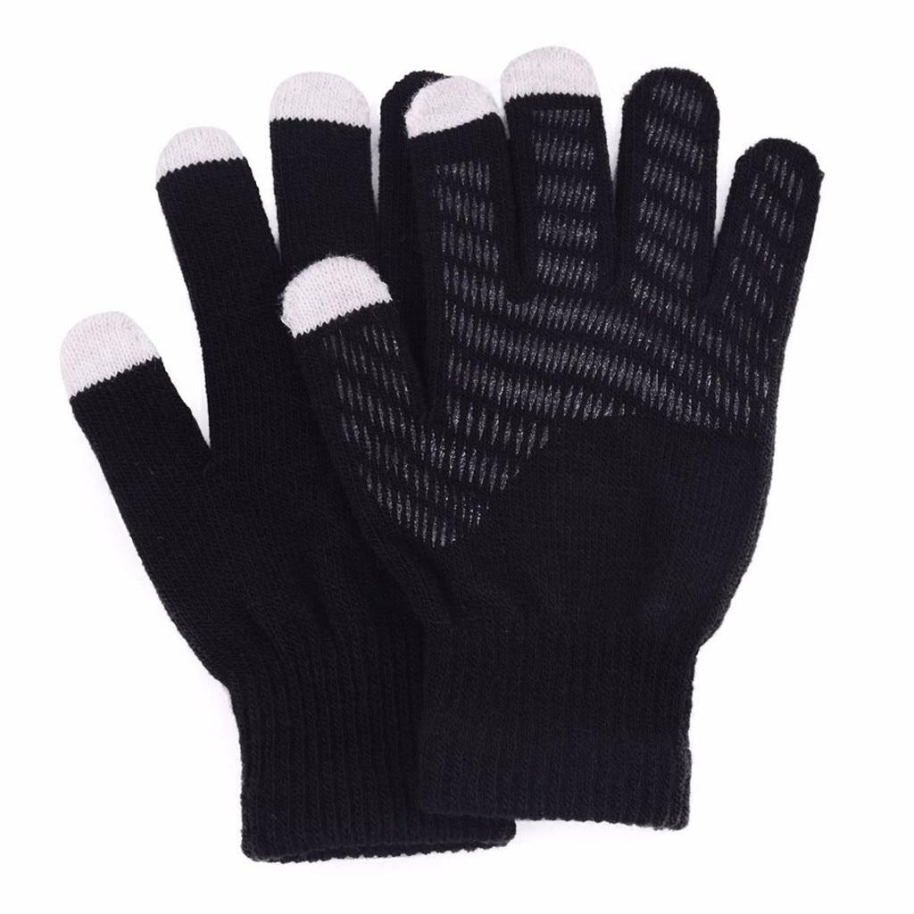 Letter Print  Mittens Silicone Non-slip Warm Fleece Magic Paw Gloves Unisex  Men Winter Cashmere Knit Glove Guantes Invierno #2