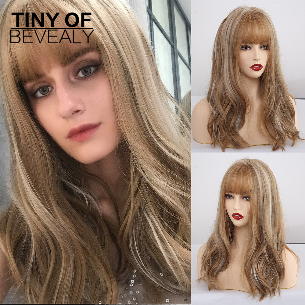 Long Synthetic Wigs With Bangs Mixed Blonde Brown Natural Wave Wigs For White Women Cosplay Wigs Heat Resistant Fiber Wigs