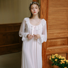 Palace Nightdress Spring Season Retro Lace Home Service Princess Style Sexy Sleepwear Women Long Sleeves GZ04