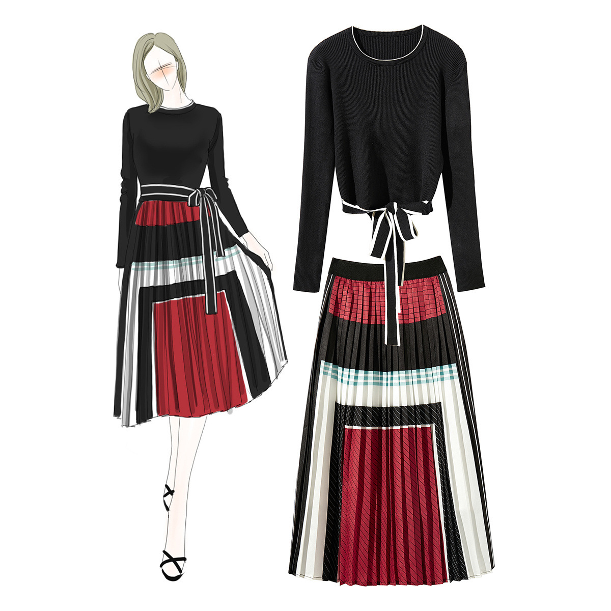 Modis Streetwear Autumn Winter Casual Two Piece Set Knitted Blouse with Bow and Pleated Print Skirt Women 2 Piece Set Plus Size
