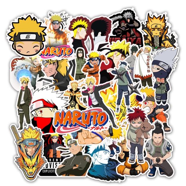 Pegatinas de vinilo de dibujos animados de Naruto sasuke para Snowboard, portátil, equipaje, nevera, coche, estilo japonés, lote de 50 unidades