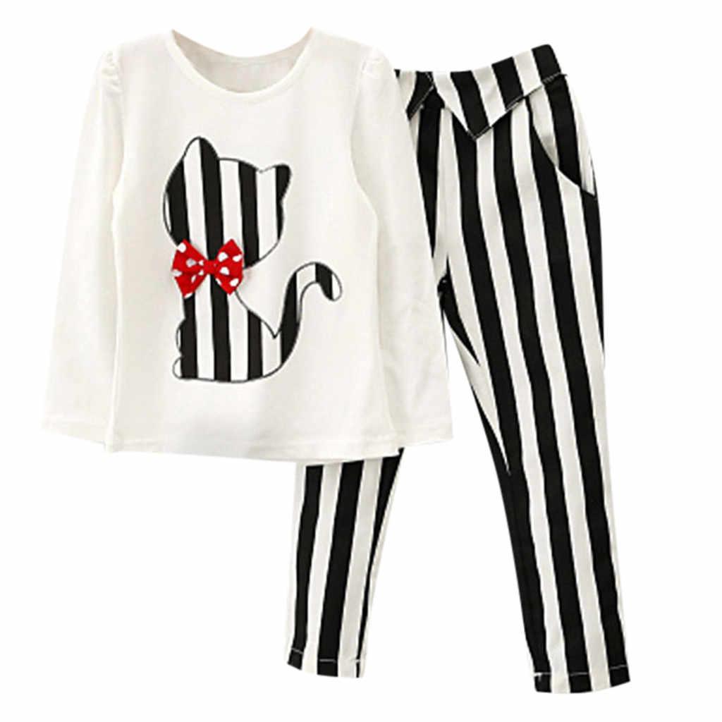 ARLONEE Kids Baby Girls Camiseta de manga larga con estampado de gato + trajes de pantalones a rayas disfraz para bebés y Niñas Ropa # Aug
