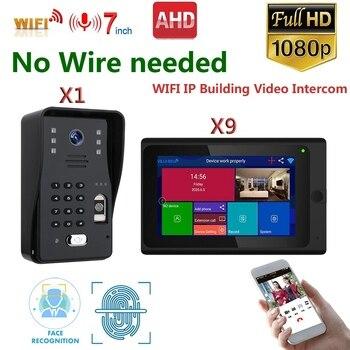 Sistema de videoportero Wifi inalámbrico con pantalla táctil de 7 pulgadas, timbre de vídeo HD 1080P, cámara IR impermeable para apartamento 9/10/12
