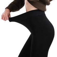 Legging chaud dhiver pour femme, taille haute, couleur unie, grande taille, Push Up, épais, 2019