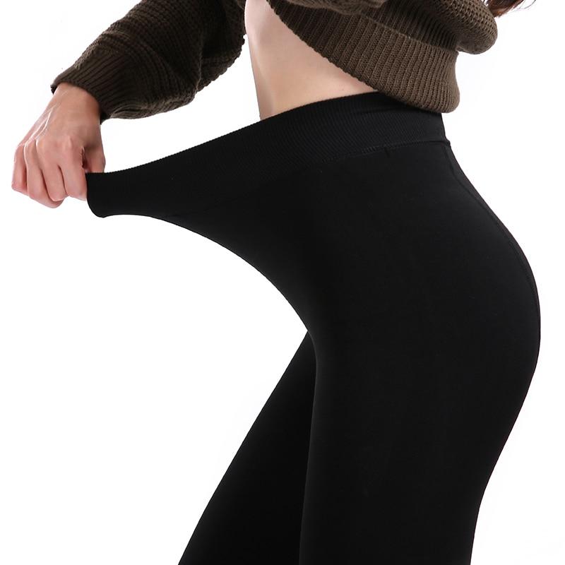 Women's High Waist Legging 2019 Winter Warm Large Size Legging Solid Push Up Leggings Thick Women