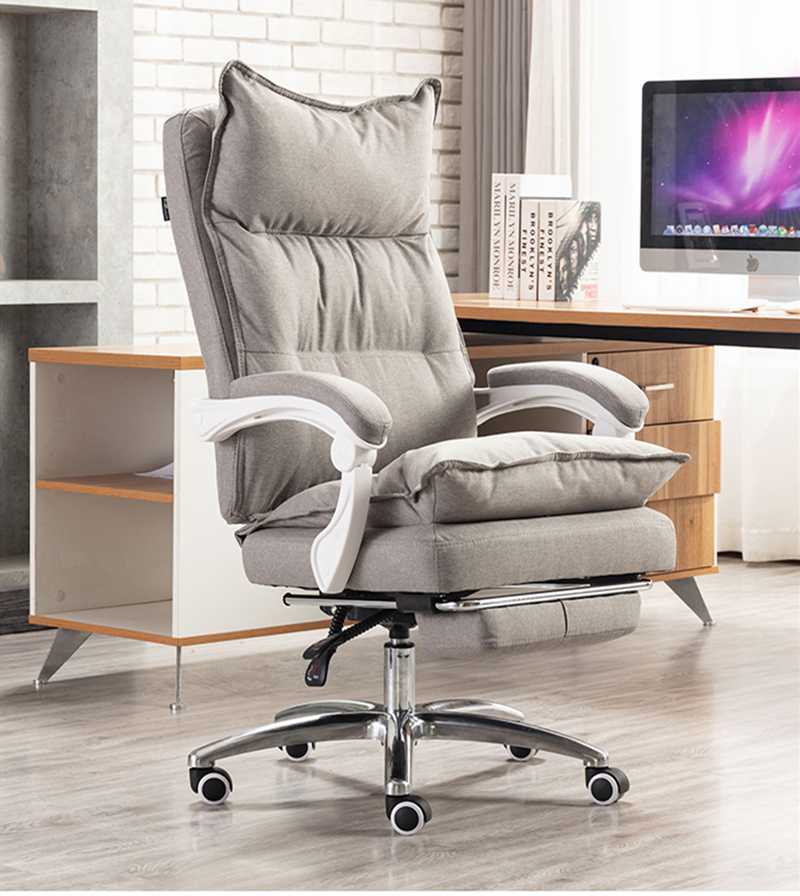 Cotton Fabric Office Chair Computer Chair Lying And Lifting Staff Armchair With Footrest  Free Shipping