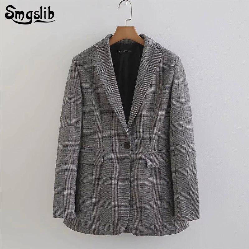 Vintage Office Ladies grey plaid Blazer Long Sleeve Loose Houndstooth Suit Coat Jacket Women blazers Female 2019