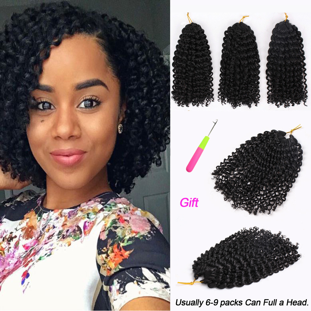 Marly Bob Ombre Crochet Braiding Hair Extensions Synthetic Marly Jerry Curl Jamaican Crochet Hair Afro Kinky Curly For Women