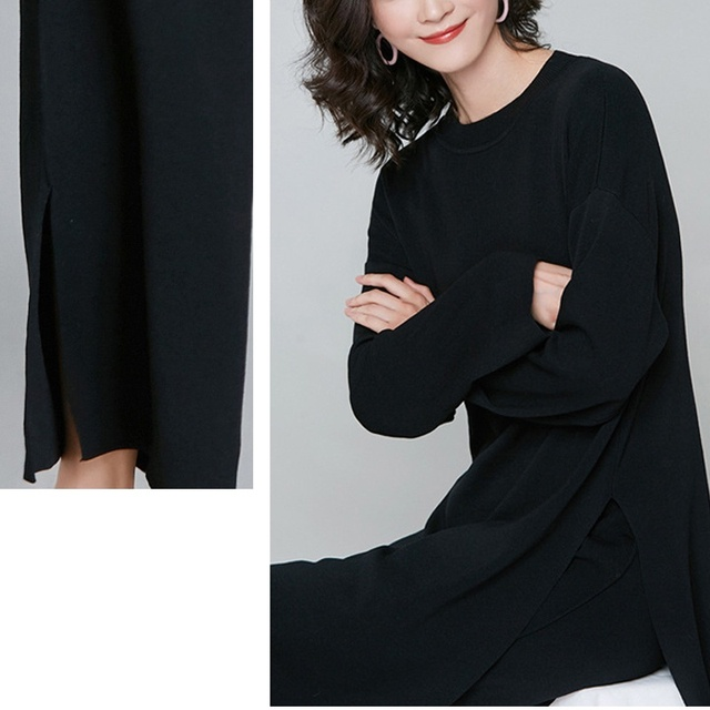 New Brief Elegant Two-piece Set Women's Loose O-neck Knitted Pullover Side Slit Long Sleeve Sweater Dresses&pants High Quality 6