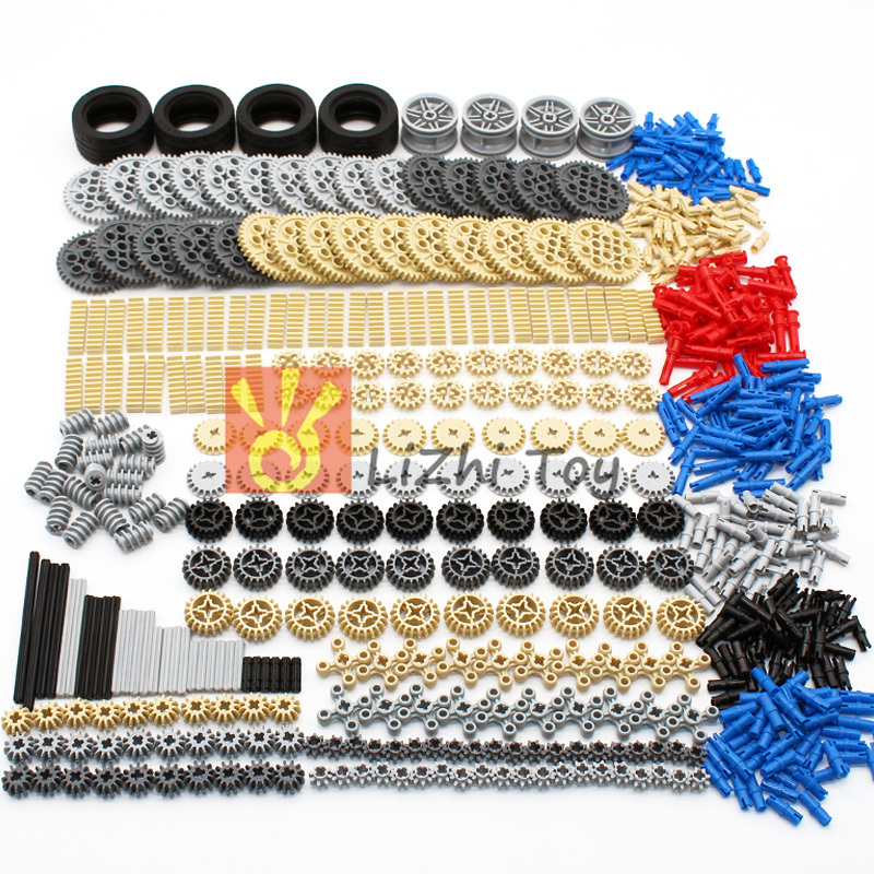 Blocks Technic Parts Gear Rack Cross Axle Accessory Car Tires Set Truck Connector Toy MOC LegoINGlys Bulk Building Bricks 638PCS
