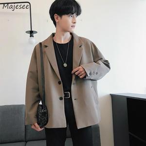 Outwear Blazers Korean Single-Breasted Mens Casual Fashion Loose-Spring Long-Sleeve Retro