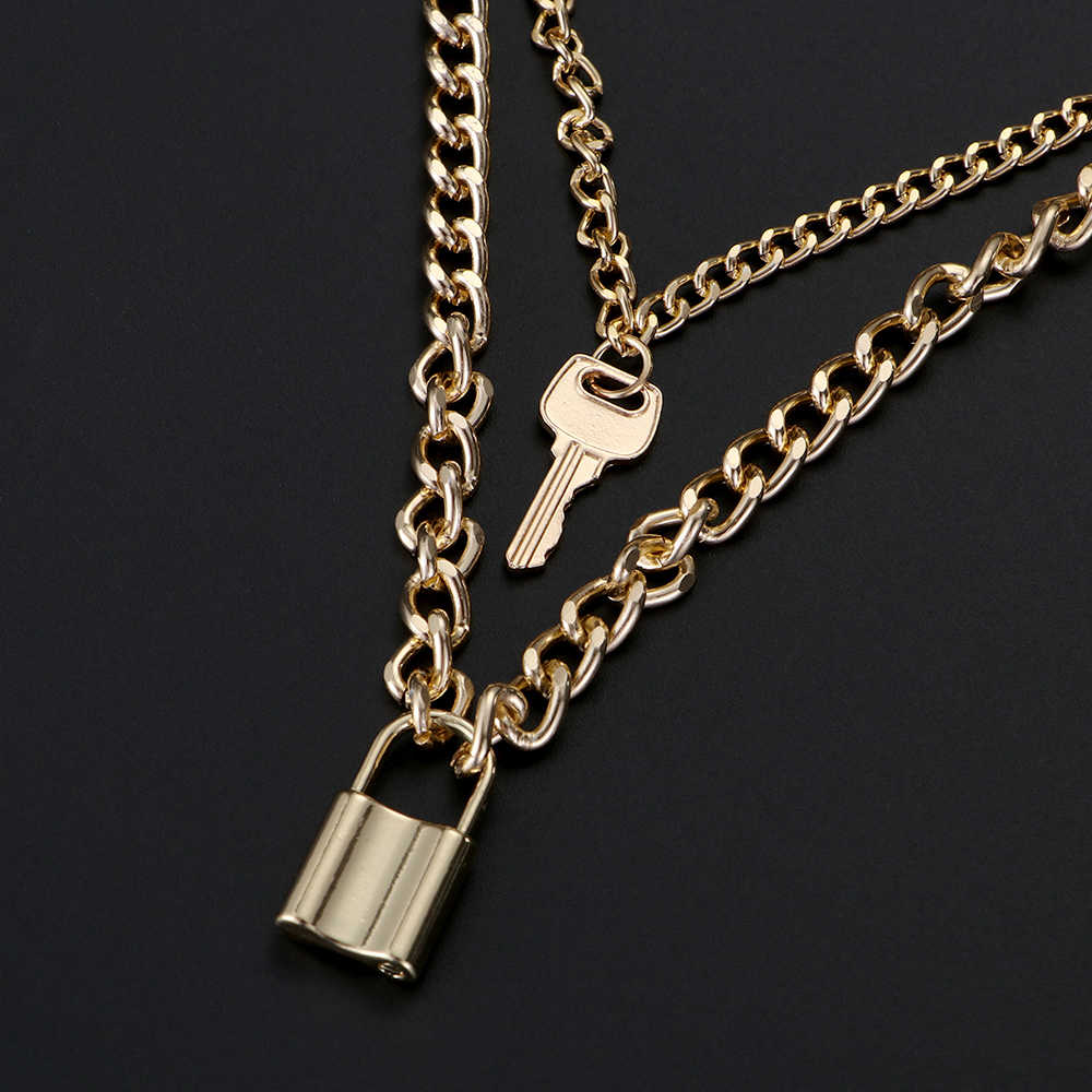 Fashion Choker Lock Necklace Layered Chain On The Neck With Lock Punk Jewelry Mujer Key Padlock Pendant Necklace For Women Gift