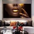 Большой размер, золотой губ, современный портретный плакат с принтами, настенная живопись, холст, женские картины для гостиной, домашний дек...