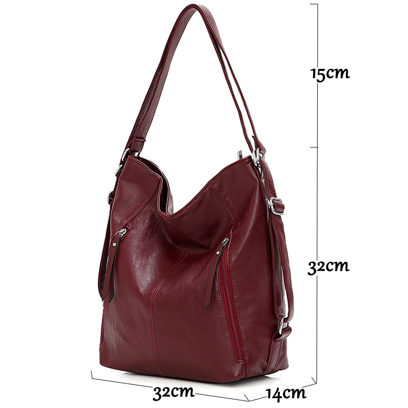Image 2 - Women Leather Handbags High Quality 3IN1 Female Soft Leather Shoulder Bag Large Capacity Tote Bags Female Sac Ladies Hand BagTop-Handle Bags   -
