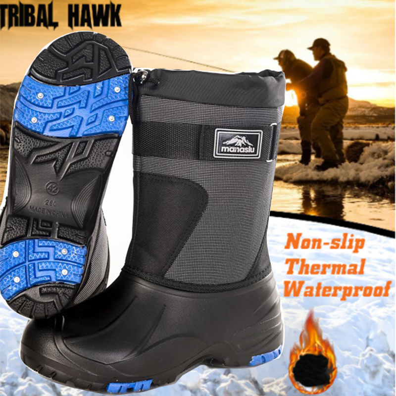 Winter Snow Boots Warm Non-slip Outdoor Working Hiking Hunting Shoes Thermal Velvet Fishing Waders Waterproof with Steel Nails
