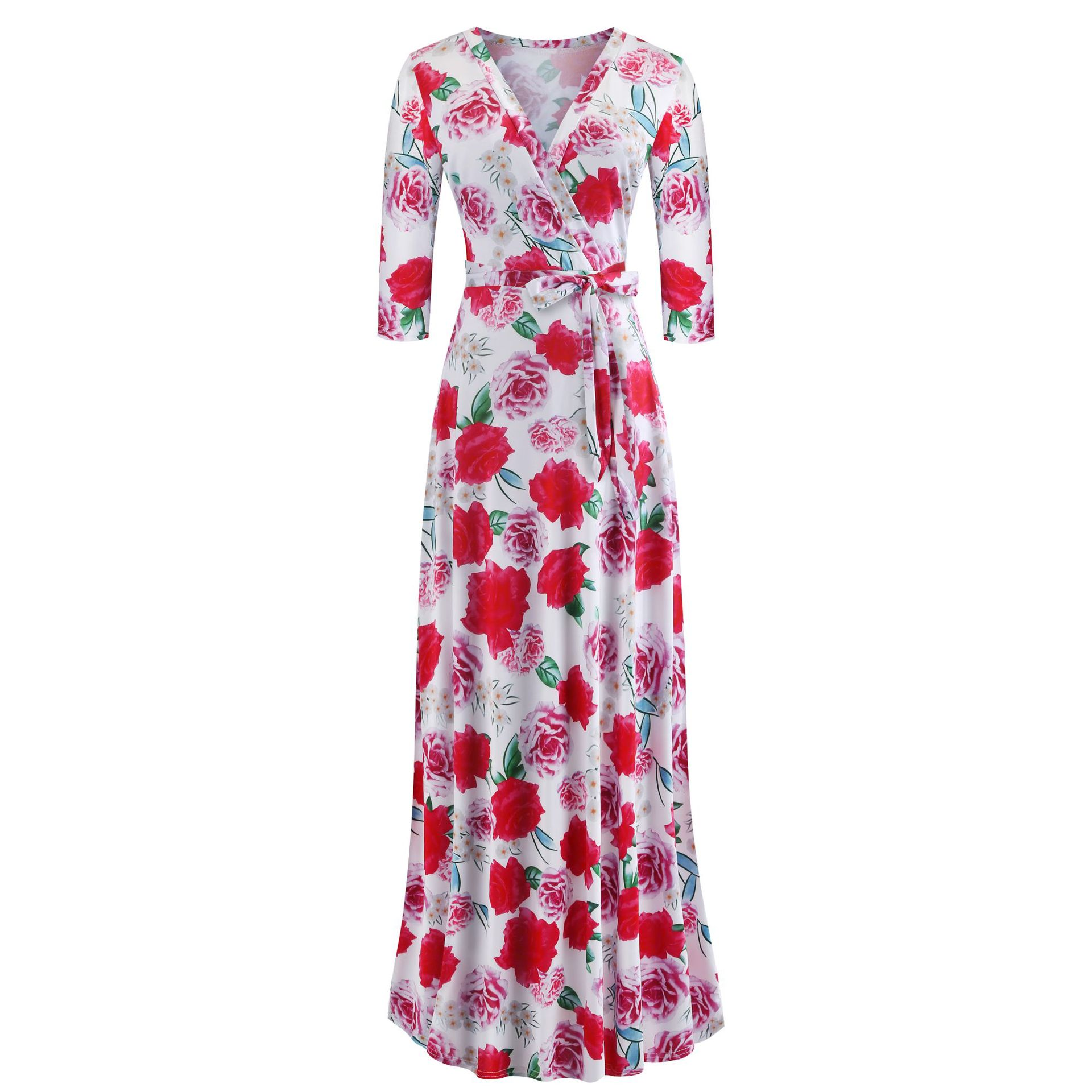 H57e27b3e235d4a4a93efc29433a96473L - Oufisun Spring Sexy Deep V Neck Women's Dress Bohemia Tunic Maxi Dresses Elegant Vintage Flowers Print Dress Vestidos Plus Size