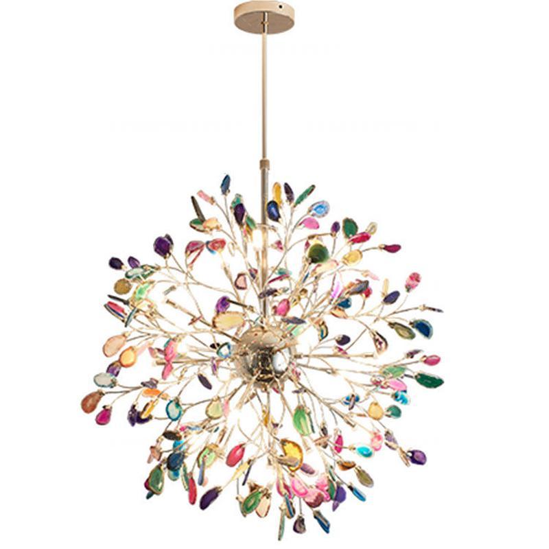 Globe LED Chandelier Agate Blue/green/purple/pink Agate Chandelier For Bedroom/living Room/kitchen/dining Room/foyer