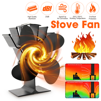 Black Stove Fan 4 Blade Fireplace Fan Heat Powered komin Wood Burner Eco Fan Friendly Quiet  Home Efficient Heat Distribution