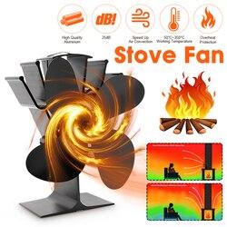 Ventilador de cocina negro 4 aspas ventilador para hogar con calefacción quemador de madera komin ventilador ecológico silencioso para el hogar distribución eficiente del calor