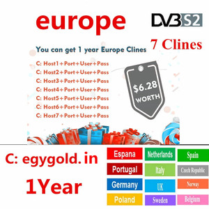 2019 Europe HD cable 1 Year CCCams for Satellite tv Receiver 7Clines WIFI FULL DVB-S2 Support Spain cline ccam Serverl 4k tv box(China)