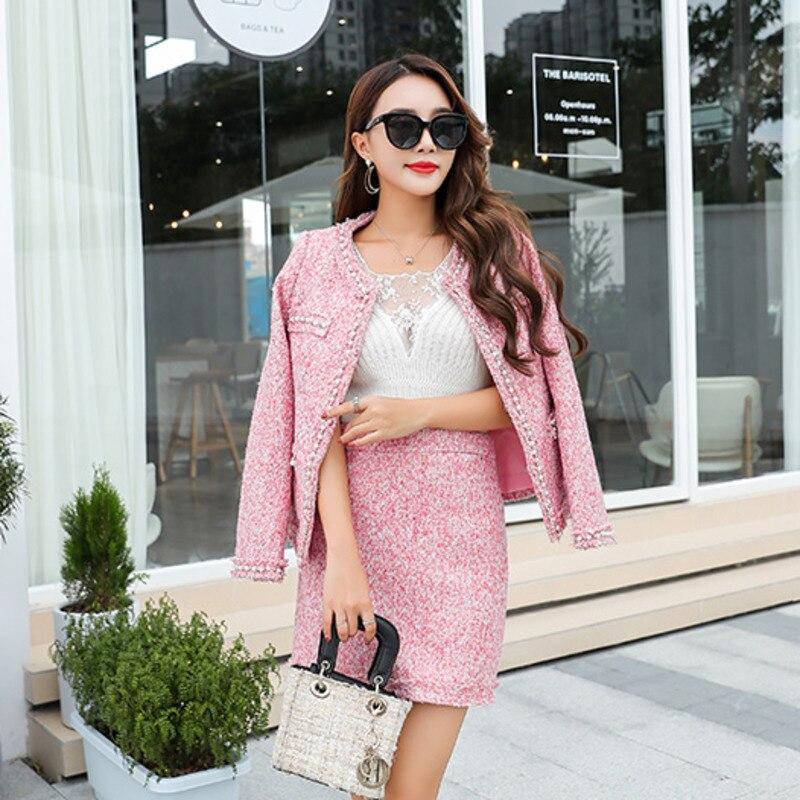 New Pink Autumn Winter Women Tweed Thick 2 Piece Set Pearl Cardigan Vintage Elegant Office Pocket Jacket Coat+sexy Mini Skirt