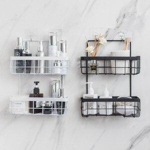 Image 4 - Eisen Lagerung Rack Veranstalter Doppel Schicht Wand Hängen Rack Bad Shampoo Dusche Regal Wand Halter Küche Lagerung Körbe