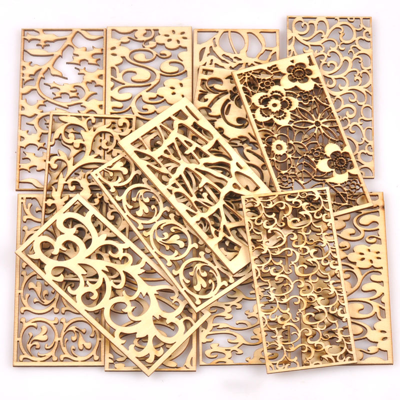 5Pcs/lot Natural Wood Decoration For DIY Scrapbook Crafts Hollow Rectangle Wooden Handmade Ornaments Home Embellishment M2559