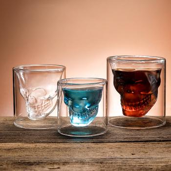 Kubek do kawy dwuwarstwowy przezroczysty kryształowy czaszka szklany kubek do gospodarstwa domowego Whiskey wino wódka Bar Club piwo lampka do wina tanie i dobre opinie UKCOZY CN (pochodzenie) ROUND Ce ue Szkło Koktajl szkła Ekologiczne F0405 Beer mug Coffee Glass Cup Tea cup Wine Glass