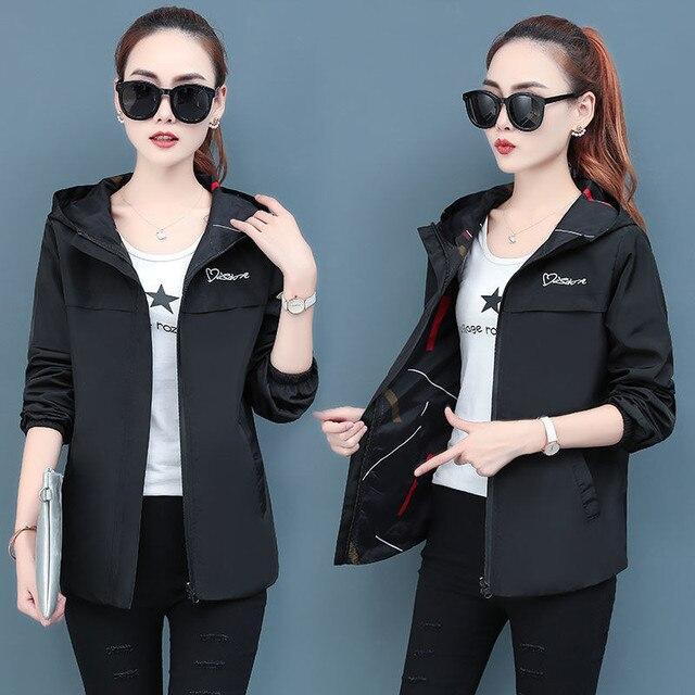 2020 printemps automne femmes veste mode à capuche deux côtés usure dessin animé impression Outwear femmes manteau ample femme coupe-vent hauts P369 4
