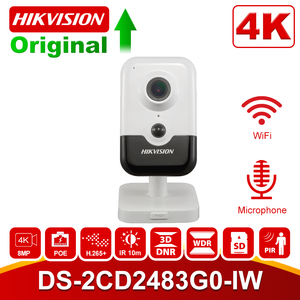 Original HIKvision 8MP Wilress IP Camera DS-2CD2483G0-IW HD 8 Megapixel IR Fixed Cube Home Security WiFi Camera With Microphone