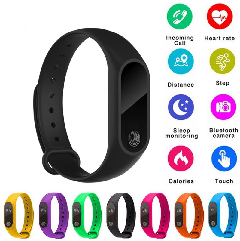 M2 Smart Band Wristband Health Monitor Pedometer Sports Bracelet Smart Bracelet Fitness Activity for Men Women Kids