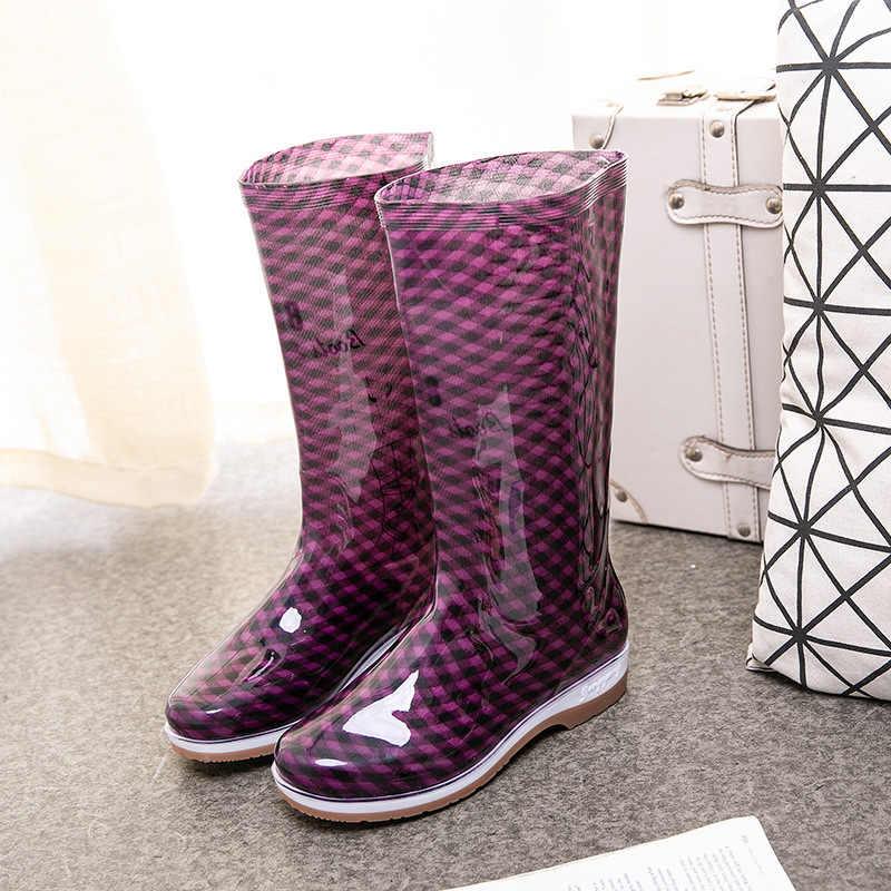 แฟชั่นรองเท้าฝนรองเท้าผู้หญิง PVC ข้อเท้า Galoshes ยาง Gumboots หนาด้านล่างรองเท้ากันน้ำรองเท้าบูทสูง
