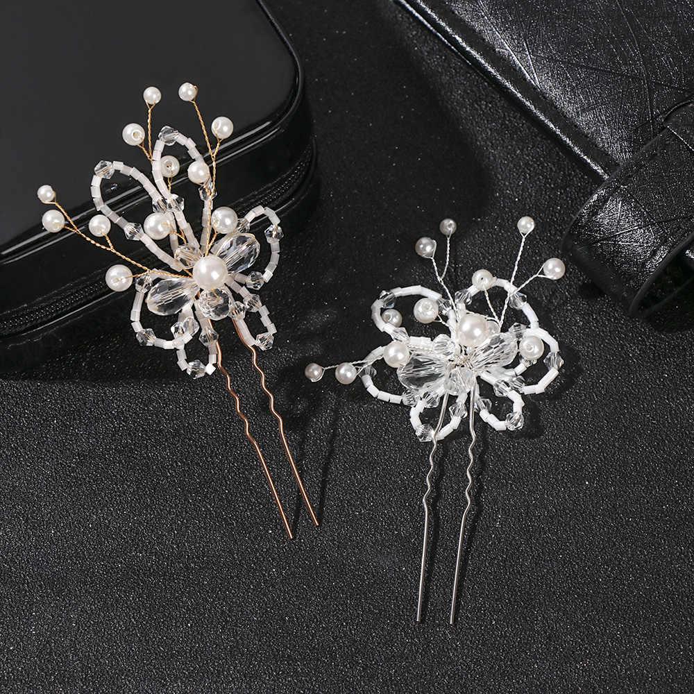 1 Pcs קריסטל פרח הכלה שיער מסרק חתונת אבזרים לשיער בעבודת יד סימולציה פניני כלה כיסוי ראש שיער קישוטי תכשיטים