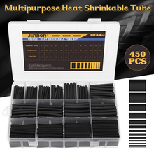 450Pcs/Box Heat Shrink Tubing 2:1 Black Tube Car Cable Sleeving Assortment Wrap Wire Kit With Polyolefin Tub