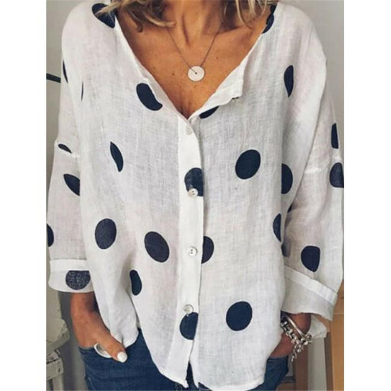 2019 Women's Autumn Cotton linen V Neck   Blouse   Ladies Fashion Tops Wear Loose Baggy Tops   Shirts   Plus Size Females New Clothing