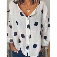 2019 Women's Autumn Cotton linen V Neck Blouse Ladies Fashion Tops Wear Loose Baggy Tops Shirts Plus Size Females New Clothing