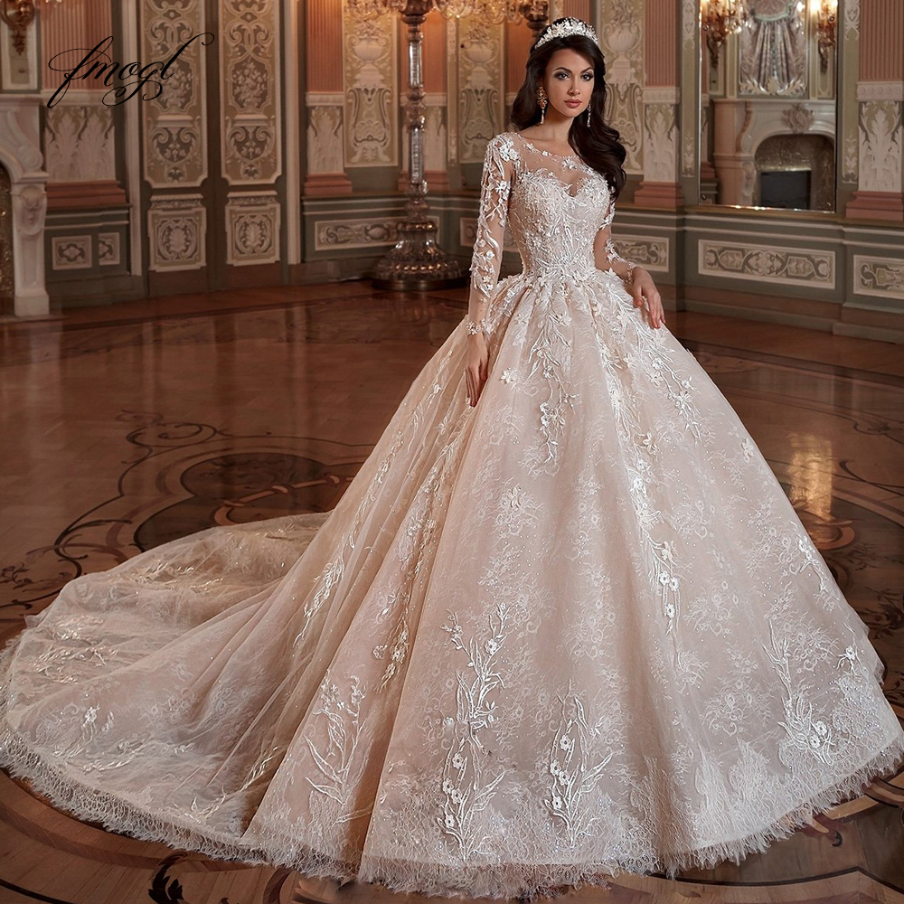 Fmogl Luxury Long Sleeve Flowers Lace Ball Gown Wedding Dresses 2020 Elegant Appliques Beaded Chapel Train Vintage Bridal Gowns