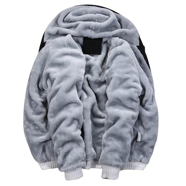 2019 Men Warm Sets Fashion Sporting Thick Suit Patchwork Zipper Hooded Sweatshirt +Sweatpants Mens 2 Pieces Sets Slim Tracksuit 5