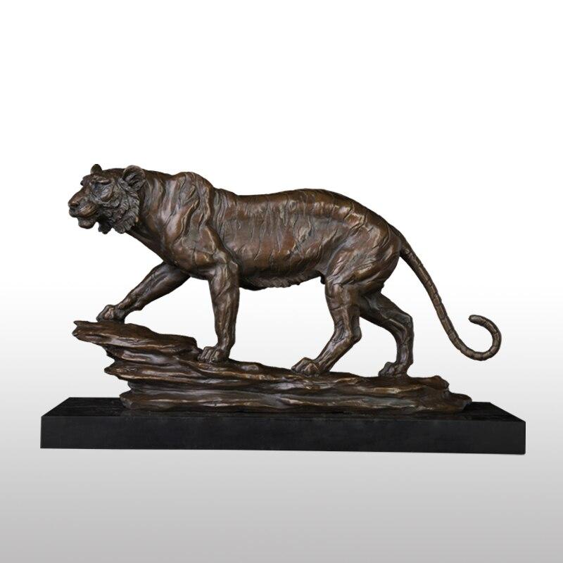 ATLIE tigre Bronze Sculptures Statue coulée chaude cuivre Animal Figurine Base en marbre bureau bureau décor cadeaux d'affaires