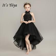 Черное платье с цветочным узором для девочек элегантное вечернее