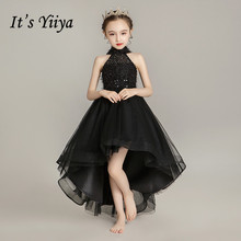 Black Flower Girl Dresses It's Yiiya B094 Elegant Halter Sleeveless High Low Length Pageant Dress 2020 Tulle Girls Princess Gown