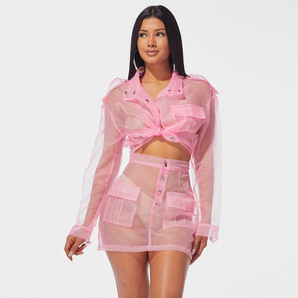 Pink Cute Organza Mesh Two Piece Set Jacket and Skirt Fall 2019 Club Outfits Sexy 2 piece Matching Sets in Women 39 s Sets from Women 39 s Clothing