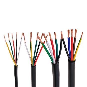 RVV czarny kabel 20AWG 0 5MM 2 rdzeń 3 rdzeń 4 rdzeń 5 core 6 rdzeń 7 core 8 core 10 rdzeń 12 rdzeń 16 rdzeń 20 sterowania przewód sygnałowy tanie i dobre opinie Diligent ant Rohs CN (pochodzenie) Miedziane RVV black cable ze skrętek Do położenia pod ziemią Izolowane